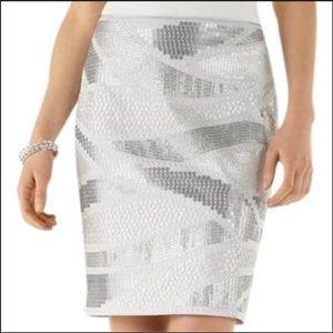 White House Black Market NWTs Silver Sequin Skirt